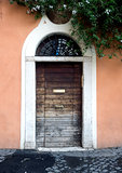 Door in the Trastevere district in Rome
