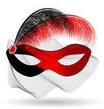 red-black carnival half-mask and feathers