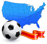 Soccer Ball with Ribbon and USA Map