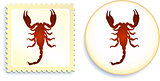 scorpion stamp and button