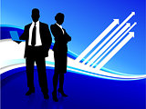 businessman and businesswoman on blue internet background
