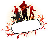 Musical Band on Abstract Tropical Frame Background