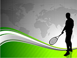 Tennis Player with World Map on Abstract Background