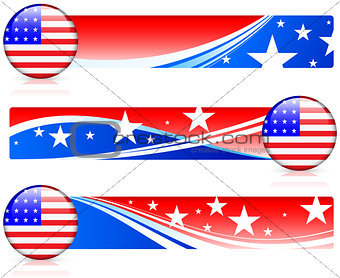 American Flag Button with Banners