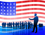 businessman on Patriotic American Flag background