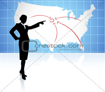 Young businesswoman pointing at US map
