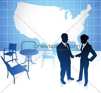 businessman and businesswoman meeting at cafe on united states b