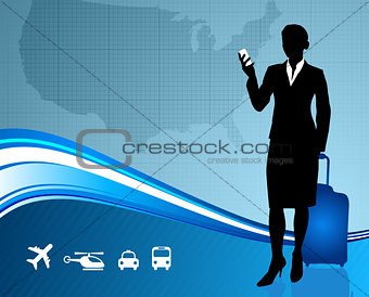 Business Traveler with United States map