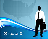 Business traveler on global communication background