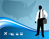 Business traveler on US map backgroundtraveler