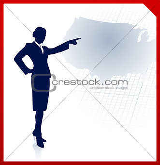 business woman pointing to USA map