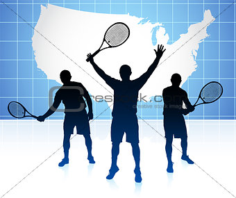 Tennis Player with United States Map Background