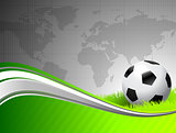 Soccer Ball on abstract green Background with World Map