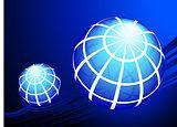 Globes on blue background