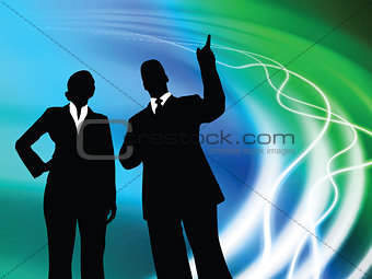 Business Couple on Abstract Liquid Background