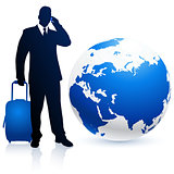 businessman traveler with Globe