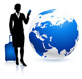 Businesswoman traveler with Globe