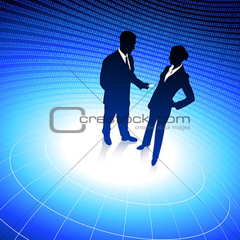 businessman and businesswoman blue internet background with bina