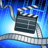 Film strip and clapper board on blue background