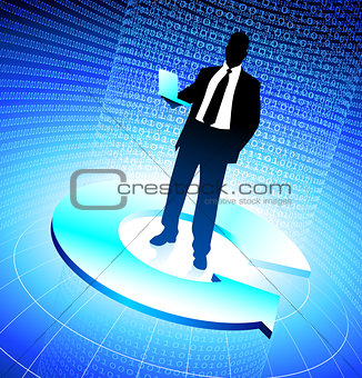 Business man background binary code