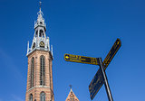 Tourist sign near the Jozef cathedral in Groningen