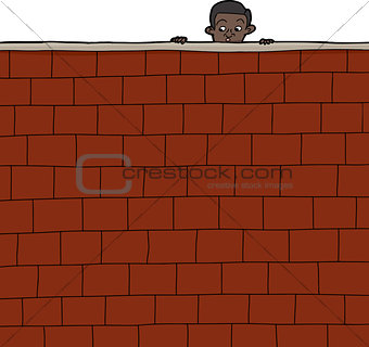 Boy Looking Over Wall