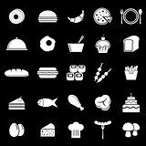 Food icons on black background