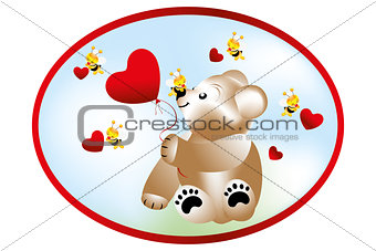 Bear with bees - Stock Illustration