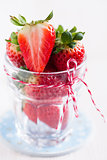 Fresh strawberries in glass