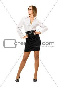 Beautiful woman in a black skirt