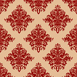 Ornate red vintage damask style seamless pattern