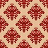 Ornate red vintage damask style seamless pattern