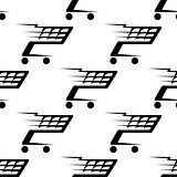Seamless pattern of a speeding shopping cart