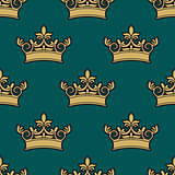 Seamless pattern of a golden crowns