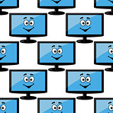 Seamless pattern of a happy desktop monitor