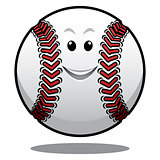 Happy white cartoon baseball ball