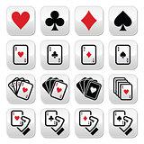 Playing cards, poker, gambling buttons set