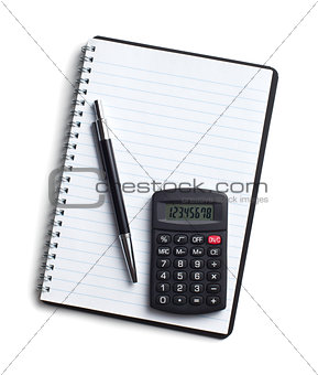calculator and pen on blank notebook