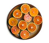 top view of red oranges