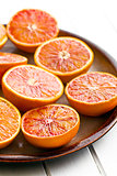 halves of  red oranges