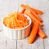 fresh carrot in white bowl