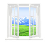 Window and beautiful summer landscape