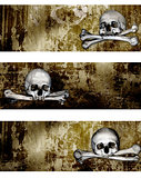 Collection of banners with human skulls and bones