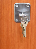 keys on ring in keyhole of door