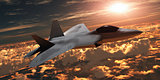 F-22 Fighter Jet at Sunset