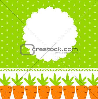 Carrot Cute Frame Vector Illustration
