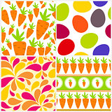 Easter Seamless Pattern Background Set Vector Illustration