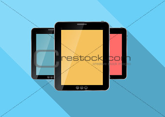 Abstract design realistic tablet flat icon. Vector illustration