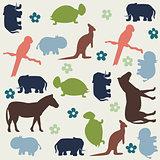 Seamless animal pattern for kids