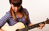 Attractive Woman Torso Holding Playing Guitar Acoustic Musician